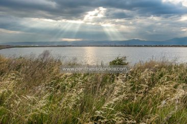The sun has already risen, but the clouds prevent it to shine over the city. Only a few rays manage to break through and create a beautiful light.  The lagoon of Kalochori, Thessaloniki / Greece, 07.06.2016. © Aris Papadopoulos