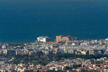 Thermaischer Golf, Konzerthalle von Thessaloniki, Gemeinde von Thessaloniki, Gemeinde von Neapoli-Sykies, Thessaloniki, Zentralmakedonien, Griechenland. © Aris Papadopoulos