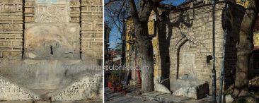 """Στην περιοχή Τσινάρι της Άνω Πόλης εκεί που τέμνονται οι οδοί Αλεξάνδρας Παπαδοπούλου και Κλειούς, βρίσκεται η κρήνη του Μουράτ Β' (βυζαντινό μνημείο). Ακριβώς απέναντι η ταβέρνα """"Τσινάρι"""", ένα πρώην τούρκικο καφενείο του 19. αιώνα. Το όνομα Τσινάρι προέρχεται από την τούρκικη λέξη çınar: πλάτανος. © Aris Papadopoulos"""