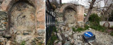 Συνεχίζοντας προς τα ανατολικά, στην κατηφορική οδό Ηρακλείου, υπάρχει μία κρήνη, η οποία πολύ πιθανόν να έχει κατασκευαστεί στους πρώιμους βυζαντινούς χρόνους. © Aris Papadopoulos